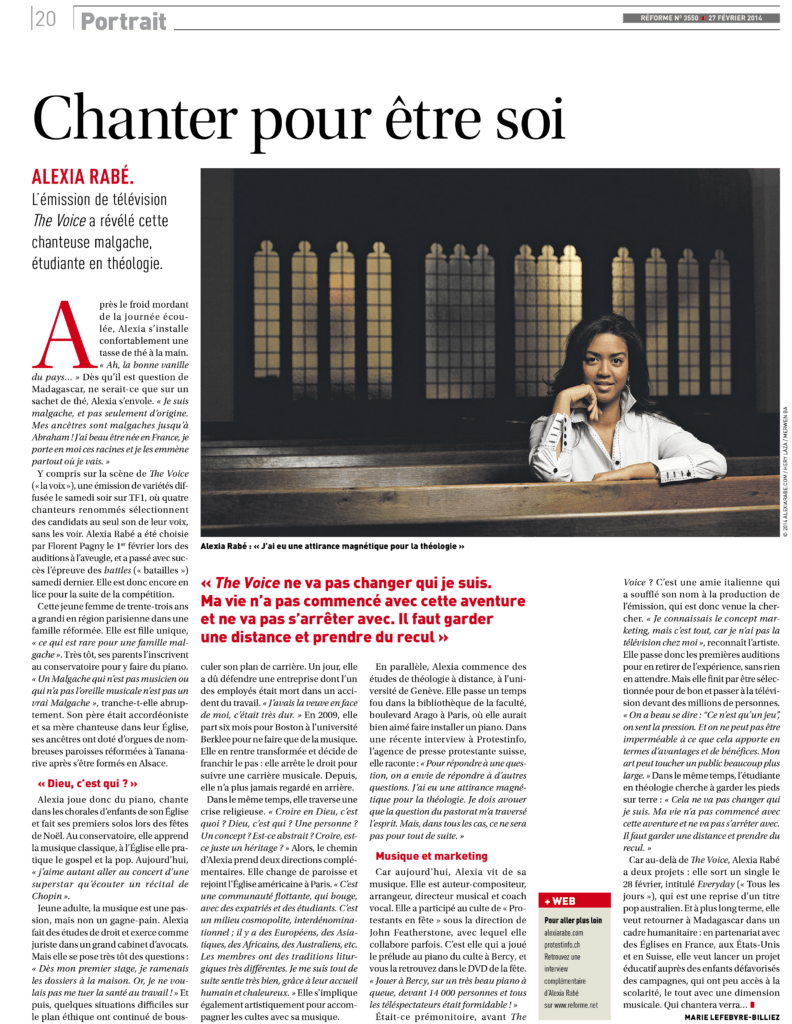 Interview Alexia Rabé dans magazine Réforme